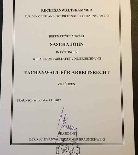 Ernennungsurkunde von Sascha John von sjs Rechtsanwälte Göttingen zum Fachanwalt für Arbeitsrecht