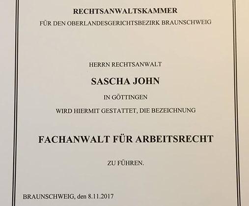 Neuer Fachanwaltstitel Für Sascha John Fachanwalt Für Arbeitsrecht